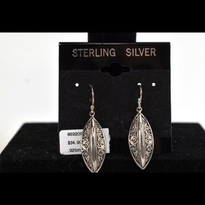 Sterling Silver Textured Almond Earrings NWT